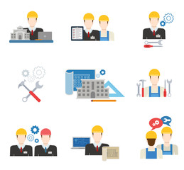 Architects, engineers and construction workers flat icon set