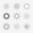 9 Art deco vintage sunbursts collection with geometric shape - 79855841