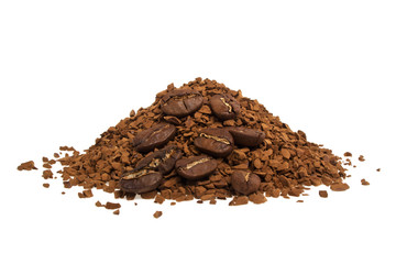 Soluble coffee and coffee beans on a white background