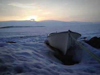 Donmuş Gölde Günbatımı