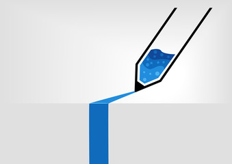 Simplified pen vector illustration with blue ink in flat design