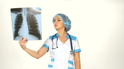 Woman Doctor Looking at X-Ray Radiography isolated white