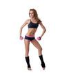 Sexy female bodybuilder exercising with dumbbells