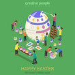 Easter egg painting micro people flat 3d isometric concept - 79857489