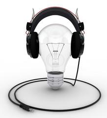 Light Bulb wearing Headphones
