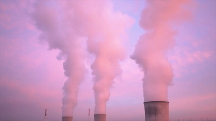 Nuclear Power Station At Sunset Timelapse