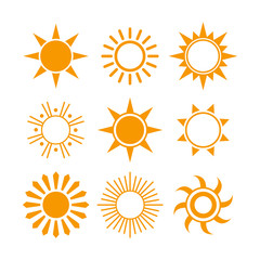 Vector Illustration of Various Sun Icons