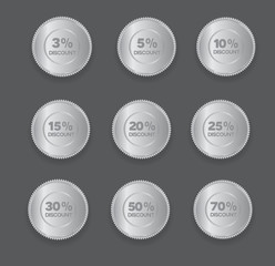 set of silver discount badges