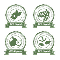 set of hollow green ribboned essential oil labels