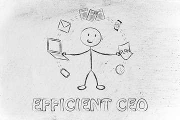 business man juggling with office objects, concept of productivi