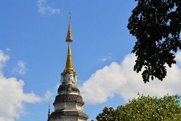 Buddhas Face on a Stupa at temple, Chiang Mai, Thailand