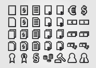 document icons symbols with gradient effect