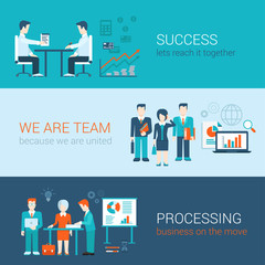 Flat style banners set: teamwork, success and business process