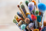 Bunch of artist paintbrushes closeup, selective focus.