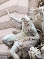 """Detail des Brunnen """"Die Macht zur See"""", Michaealerplatz Wien"""