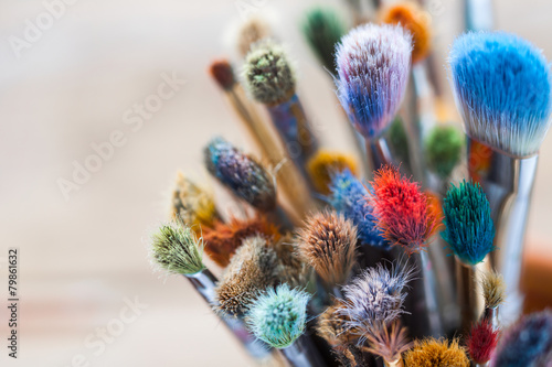 Bunch of artist paintbrushes closeup, selective focus. - 79861632
