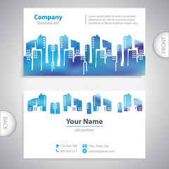business card - Abstract cities silhouette - company presentatio