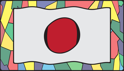 Japan Flag On Stained Glass