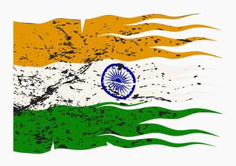 Wavy India Flag Grunged