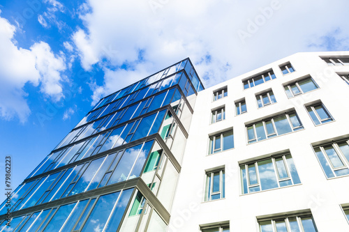 Leinwanddruck Bild moderne Bürogebäude in Deutschland  - Frankfurt