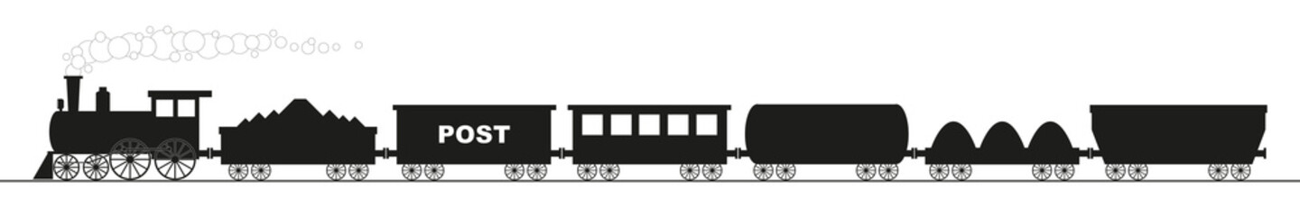 black silhouette of a locomotive with six different wagons