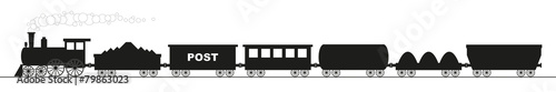 black silhouette of a locomotive with six different wagons - 79863023
