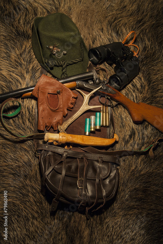 Fotobehang Jacht Equipment for hunting on wild boar skin
