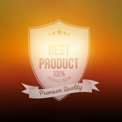 Best product shield isolated on blurred background