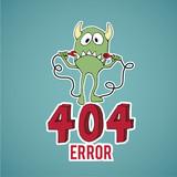 Error 404, sad monster disconnect cables,blue color backgrond poster