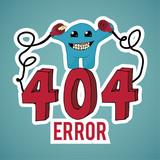 Error 404, evil monster disconnect cables over blue color backgr poster