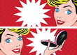 Beauty Pop Art Banners set with retro happy woman face template