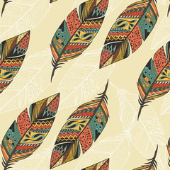Seamless pattern with vintage tribal ethnic hand drawn colorful