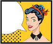 Popart comic 2 Love Vector illustration of surprised woman face