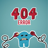 Error 404, monster angry with disconnected cables on blue color poster
