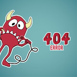 Error 404, red monster offset with disconnected cables on blue c poster