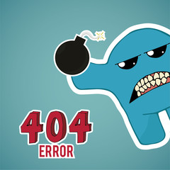 Error 404, monster angry with bomb, on blue color background