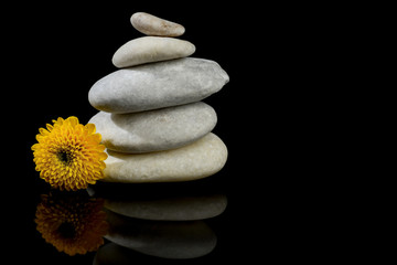 Flower and stones stacked isolated with black background