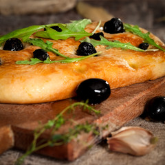 Traditional Focaccia with black olives