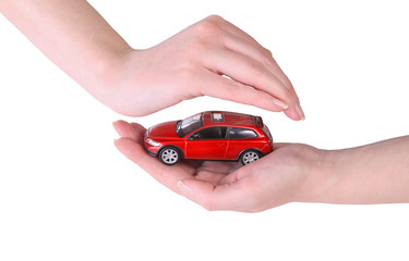 toy car in female hands
