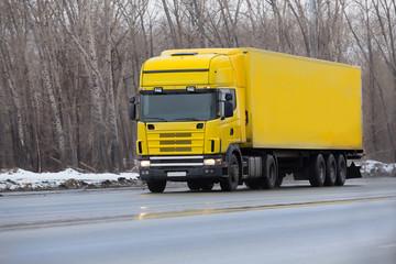 winter yellow truck