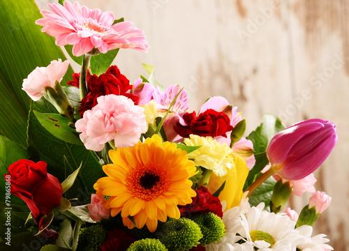 obraz PCV Skład z bukietem kwiatów