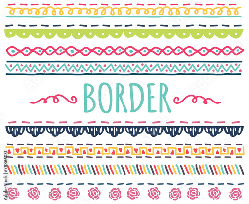 set of colorful hand drawn border - 79866031