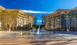 Leinwanddruck Bild - Fountain in Antigone district of Montpellier - France