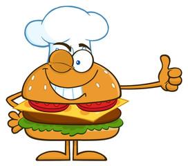 Winking Chef Hamburger Cartoon Character Showing Thumbs Up