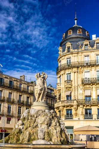 Fontaine des Trois Graces on place de la Comedie in Montpellier, - 79866435