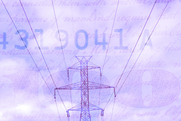 Double exposure high voltage power line with hundred dollar bill