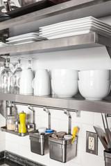 Crockery arranged in a domestic kitchen