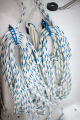 Close-up of hanging ropes
