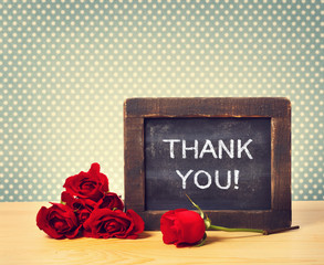 Thank you message with red roses