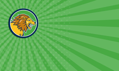 Business card Angry Lion Head Roar Circle Cartoon